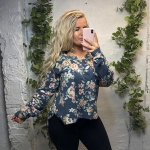 Anthropologie floral pullover small
